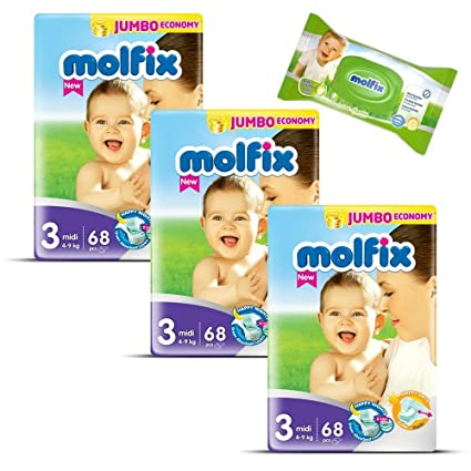 "Pañales tamaño 3 ""Midi"" Molfix bebé pañales Jumbo Pack 204 pañales + 40"