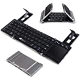 Portable Folding Bluetooth Keyboard EC Technolgy Foldable Wireless Keyboard with Multi Touchpad Holder Touch Keyboard for Android Windows iOS, Aluminum Alloy
