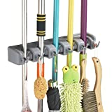 MODEAR Mop Broom Holder Wall Mounted Commercial Organizer Storage Rack 5 Position with 6 Hooks Holds Up to 11 Tools for Kitchen Garden and Garage,Laundry Offices