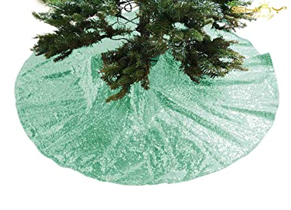 sequin christmas tree skirt 24inch 2pcs mint tree skirt sparkle xmas tree ornament mint green christmas