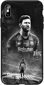 Okteq Case for iphone XS Max Shock Absorbing PC TPU Full Body Drop Protection Cover matte printed - Lionel Messi black white By Okteq