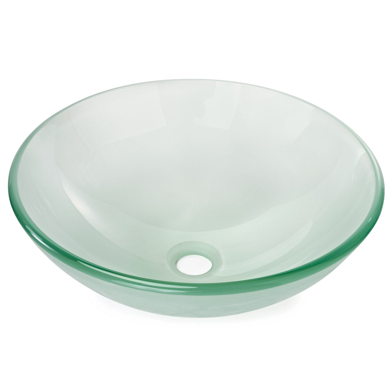 Miligoré Modern Glass Vessel Sink - Above Counter Bathroom Vanity Basin Bowl - Round Frosted