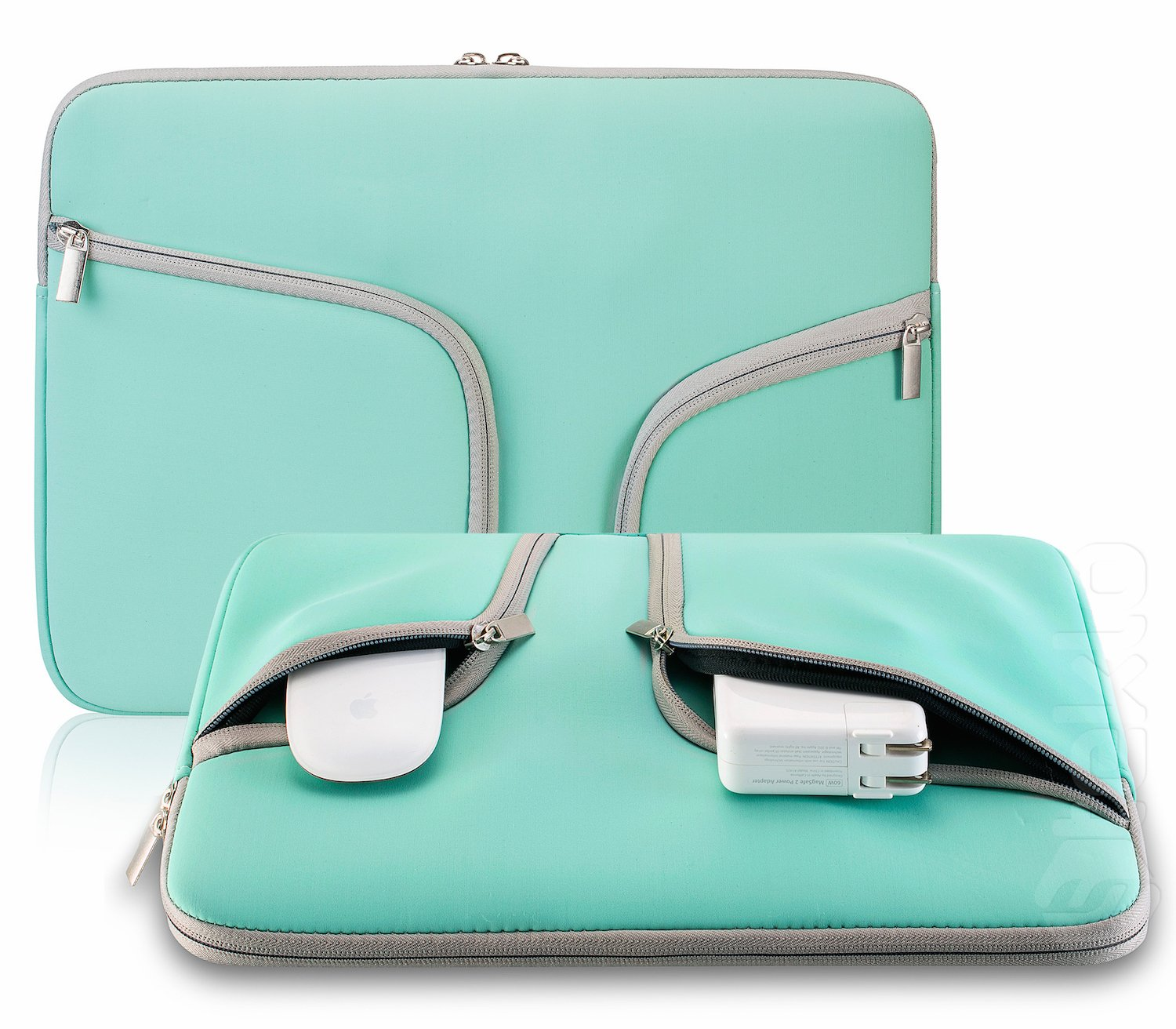 """Steklo - HOT Teal Neoprene Soft Sleeve Case Bag for All Laptop 15-inch & MacBook Pro 15.4"""" with or Without Retina Display - HOT Teal"""
