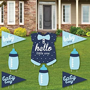 Hello Little One - Blue and Navy - Yard Sign & Outdoor Lawn Decorations - Boy Baby Shower Yard Signs - Set of 8