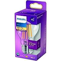 Philips LED Classic Bombilla, 100 W, E27, Estándar A60, Transparente, Luz Blanca Cálida, No Regulable