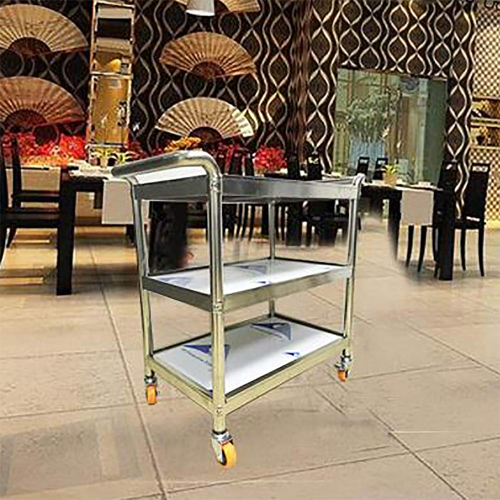 Kitchen Trolley, Stainless Steel Three-Story Hotel Meal Wheel Mute, Assembled Household Rack Storage Cabinet to Put A Variety of Things by Kitchen Cart (Image #4)