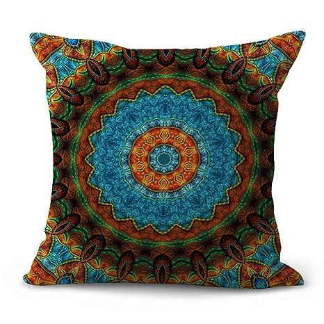 Funda de almohada étnica, patrón Mandala, funda de cojín 45 x 45 cm, manta para sofá