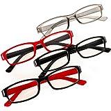 Romens Ltd Set 4 Pair Gafas de Lectura Hombre Mujeres +0.5 +1.00 +2.00 +3.00 +4.00 Slim Reading Glasses
