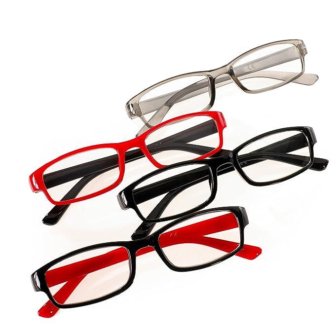 4c8a849c22 Romens Ltd Set 4 Pair Gafas de Lectura Hombre Mujeres +0.5 +1.00 +2.00  +3.00 +4.00 Slim Reading Glasses (4 Pair Set 1, 0.5): Amazon.es: Ropa y  accesorios