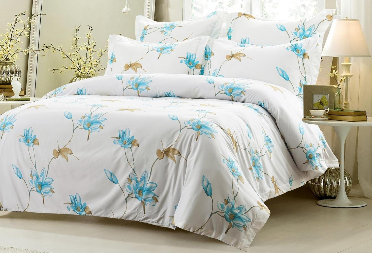 6pc Floral Blue Taupe Bedding Set