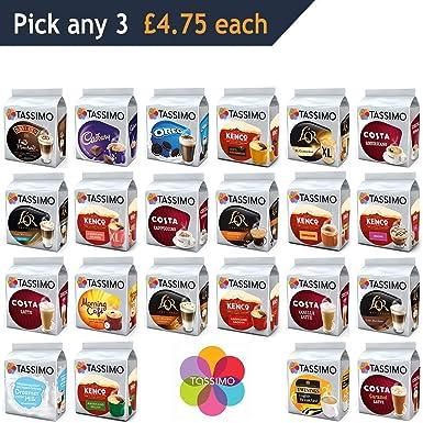 Tassimo Pods Pick Any 3 Choose From 22 Flavours Including Costa Coffee Pods Latte Americano Kenco Xl Hot Chocolate Cappucino Mocha Americano