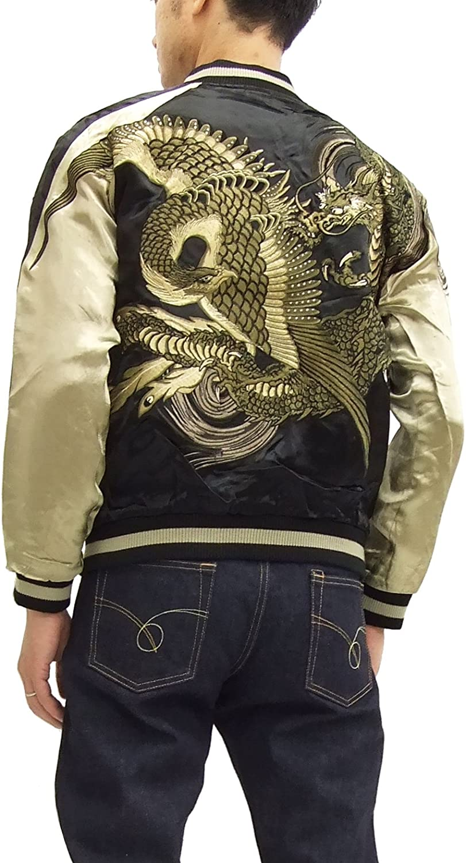 Souvenir Jacket Sukajan Japanese Pattern Embroidery Reversible Dragon Mens Coat
