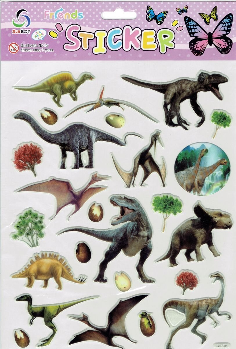 by soljo 3D Dinosaurio Jurásico Colorido calcomanía Etiqueta 1 Hoja Dimensiones: 25 cm x 20 cm A490-3D-Dino