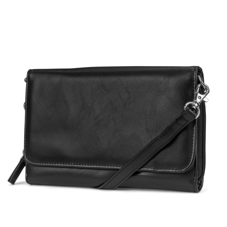 Mundi RFID Crossbody Bag For Women Anti Theft Travel Purse Handbag Wallet Vegan Leather (Black (Milano))