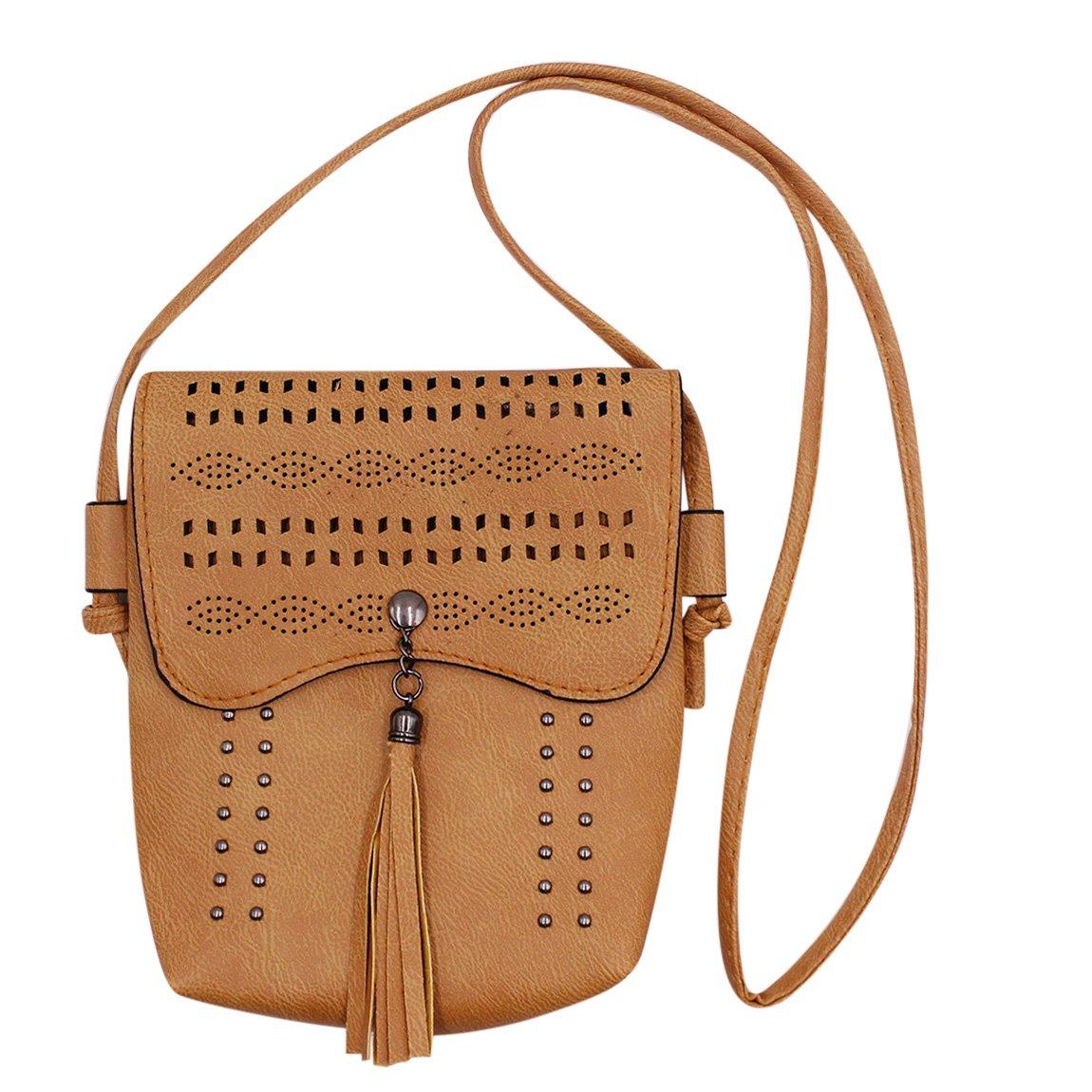 Women Hollow Carved Crossbody Shoulder Bag Tassel Cell Phone Purse Satchel