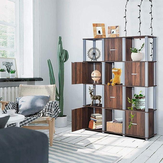 4-Tier Living Room Storage Shelf W//12 Cubes Display Bookcase Walnut W//6 Doors