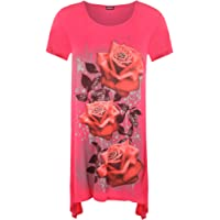 WearAll Womens Plus Size Glitter Rose Print Hanky Hem Short Sleeve Long Top