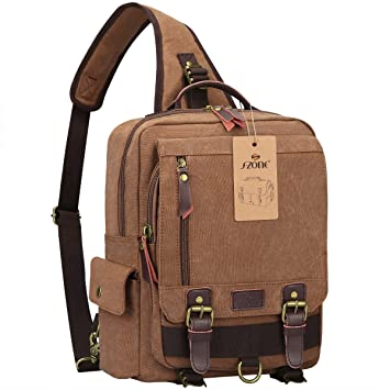Amazon.com: S-ZONE One Strap Sling Canvas Cross Body 13-inch ...