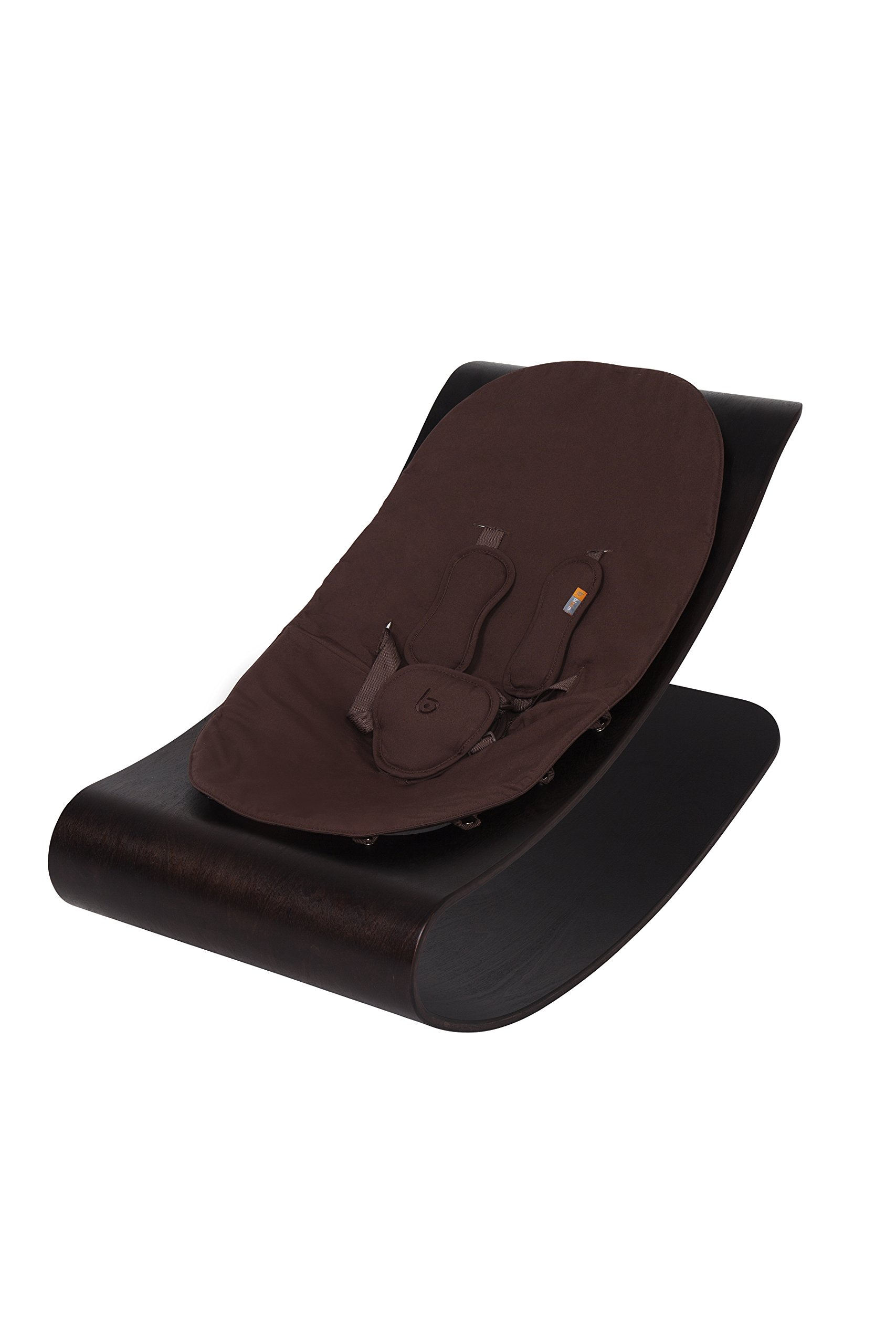 bloom Coco Stylewood Modern Baby Lounger / Rocker / Bouncer - Cappuccino Frame w/ Organic Cotton Baby-Facing Seat Pad (Henna Brown)