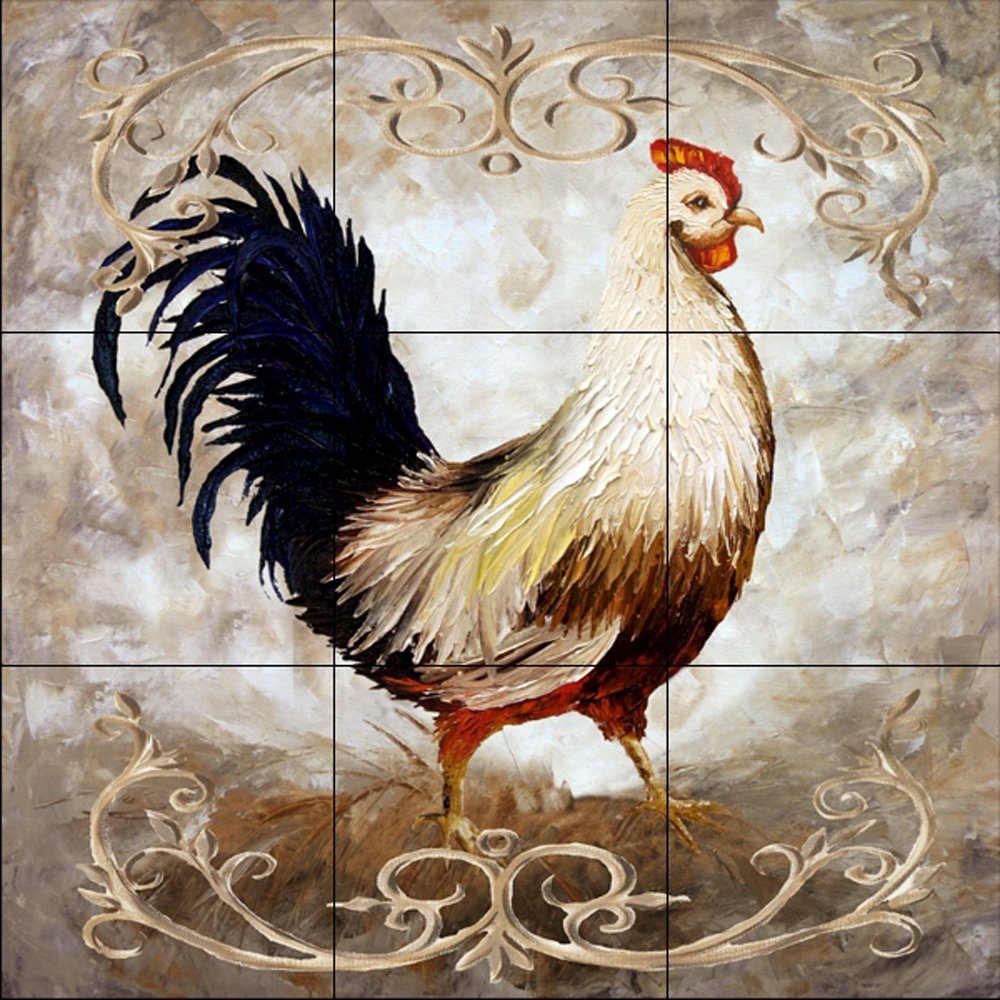Ceramic Tile Mural - Rooster III - by Malenda Trick - Kitchen backsplash/Bathroom shower by The Tile Mural Store (Image #1)