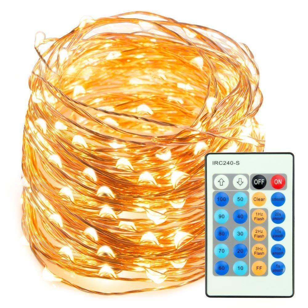 TaoTronics LED String Lights 66ft 200 LEDs Dimmable Festival Decorative Lights for Seasonal Holiday, Complete Waterproof, UL Listed(Copper Wire Lights, Warm White)