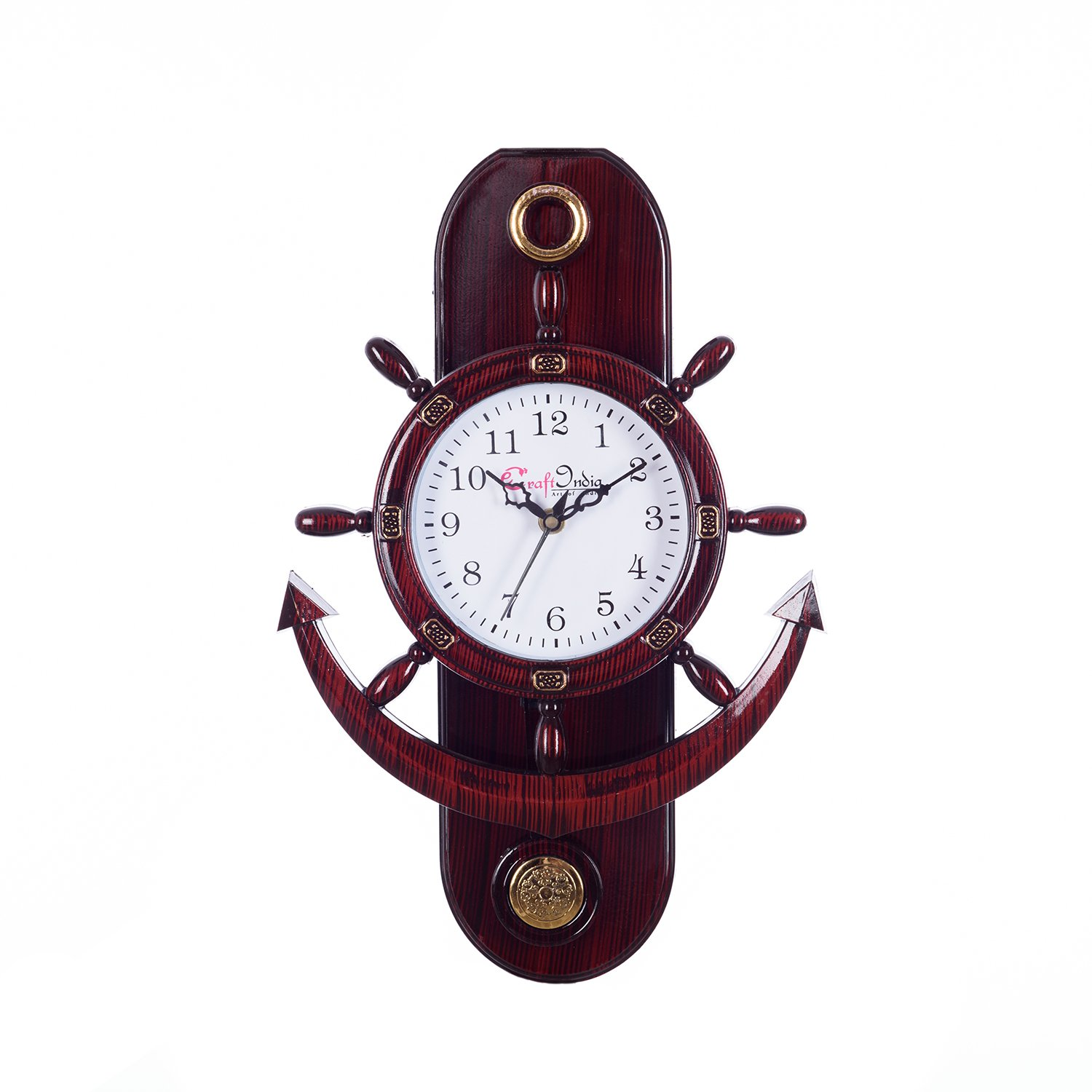 Buy ecraftindia retro decorative anchor plastic pendulum wall buy ecraftindia retro decorative anchor plastic pendulum wall clock 32 cm x 3 cm x 40 cm brown online at low prices in india amazon amipublicfo Images
