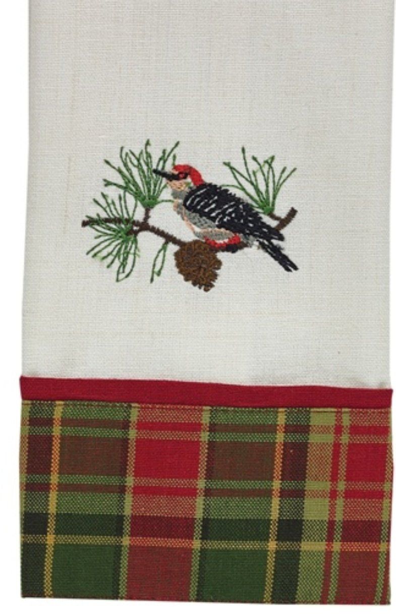 Woodpecker in Pine Tree Red and Green Plaid Guest Towel Embroidered Design