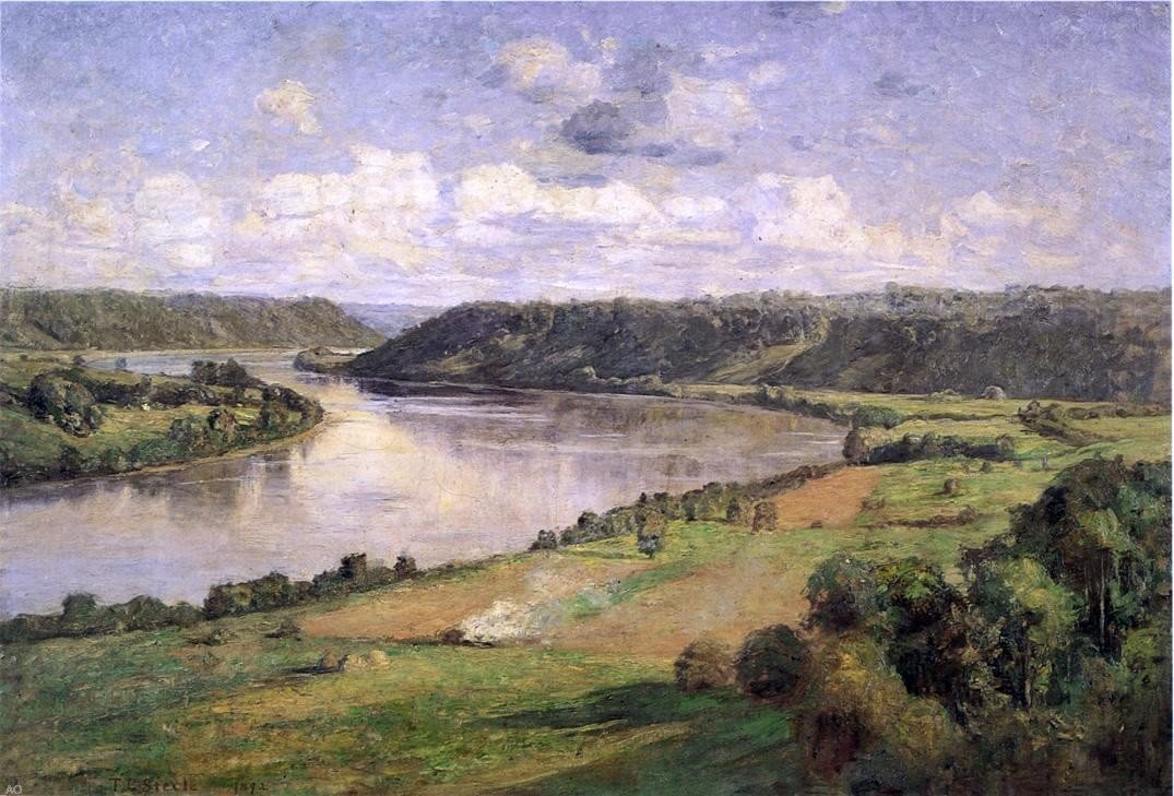 Theodore Clement Steele The Ohio river from the College Campus Hanover - 24'' x 36'' 100% Hand Painted Oil Painting Reproduction