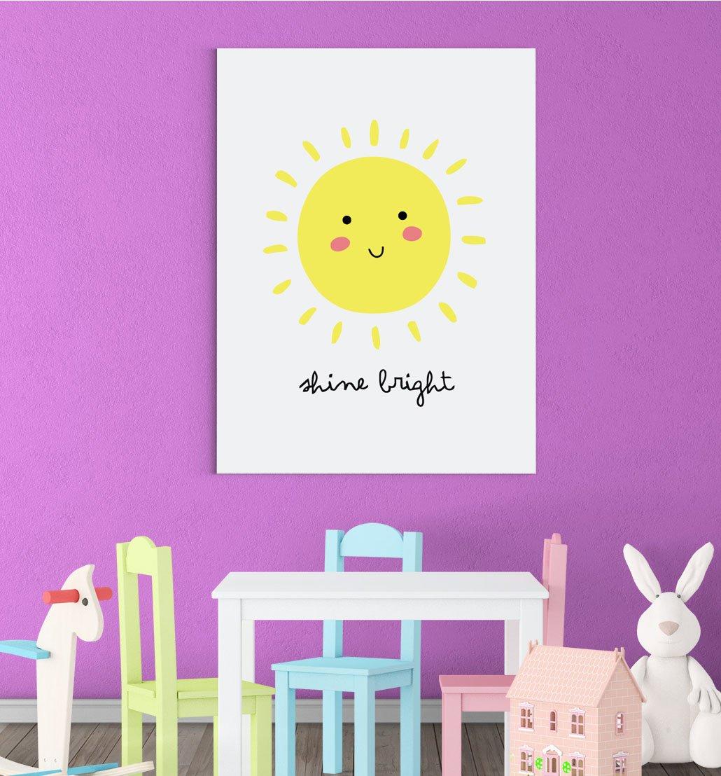 Inspired Walls Affiche Soleil radieux Qui rougit avec l/'Inscription en Anglais /« Shine Bright /» gar/çon ou Fille D/écoration Murale pour Chambre denfant