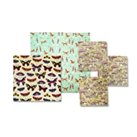 Reusable Beeswax Food Storage Wraps - 5 Piece Assorted Size Variety Pack (3 Small, 1 Medium, 1 Large) - Organic, Sustainable & Washable - Made in the USA - Plastic Free & Biodegradable