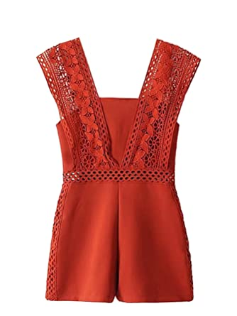 9bf84d8a8b5 Romwe Women s Sweet Elegant Lace Crochet Wide Strap High Waist Jumpsuit  Romper Orange S