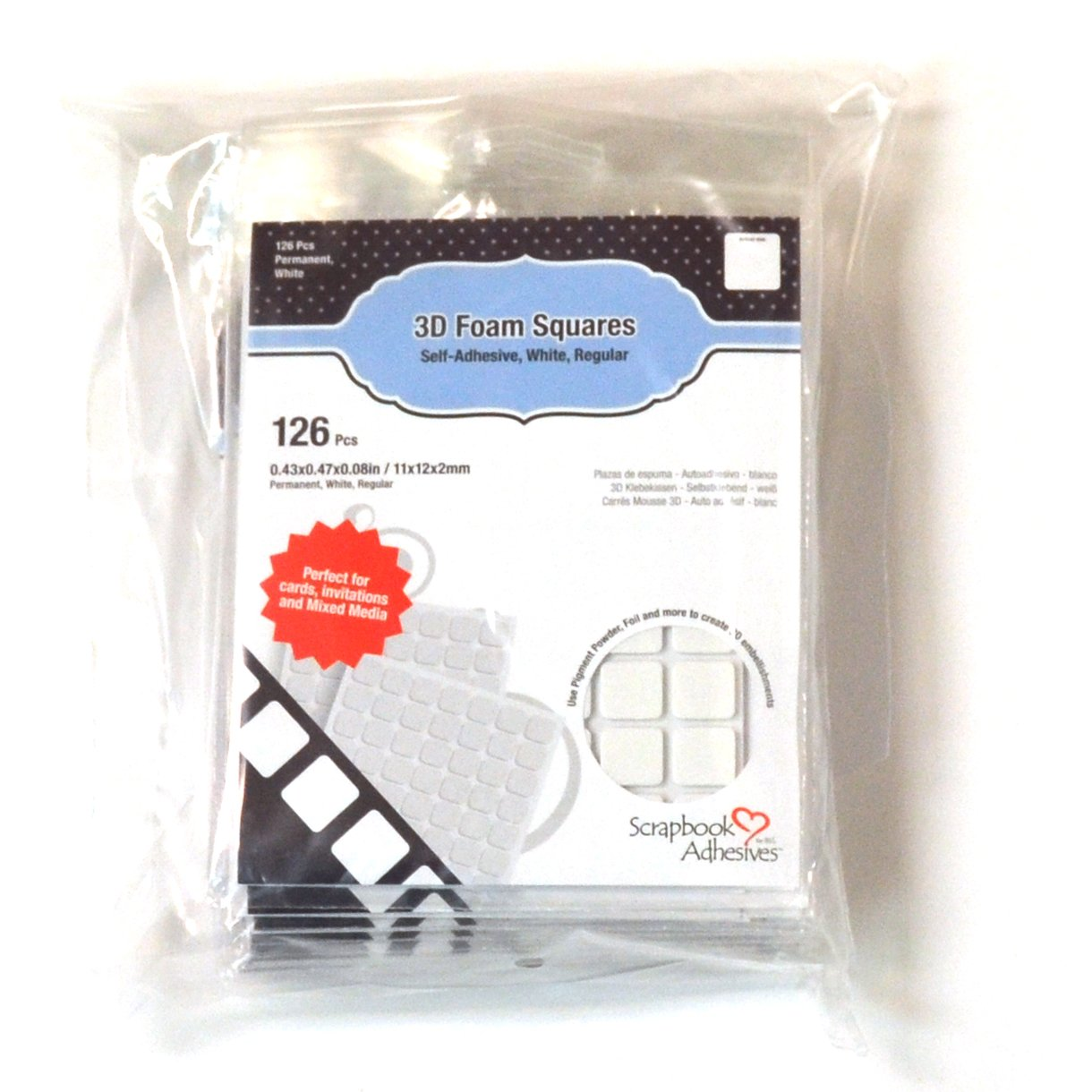 White-Set of 10 1//2 X 1//2, SCRAPBOOK ADHESIVES BY 3L 3L Scrapbook Adhesive Permanent Regular Pre-Cut 3D Foam Squares 126pk x 1//2-Inch