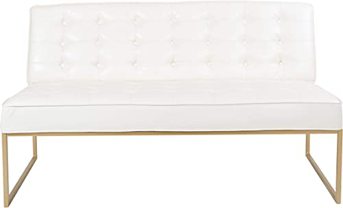 OSP Home Furnishings Anthony Armless Loveseat, White Faux Leather with Gold Base