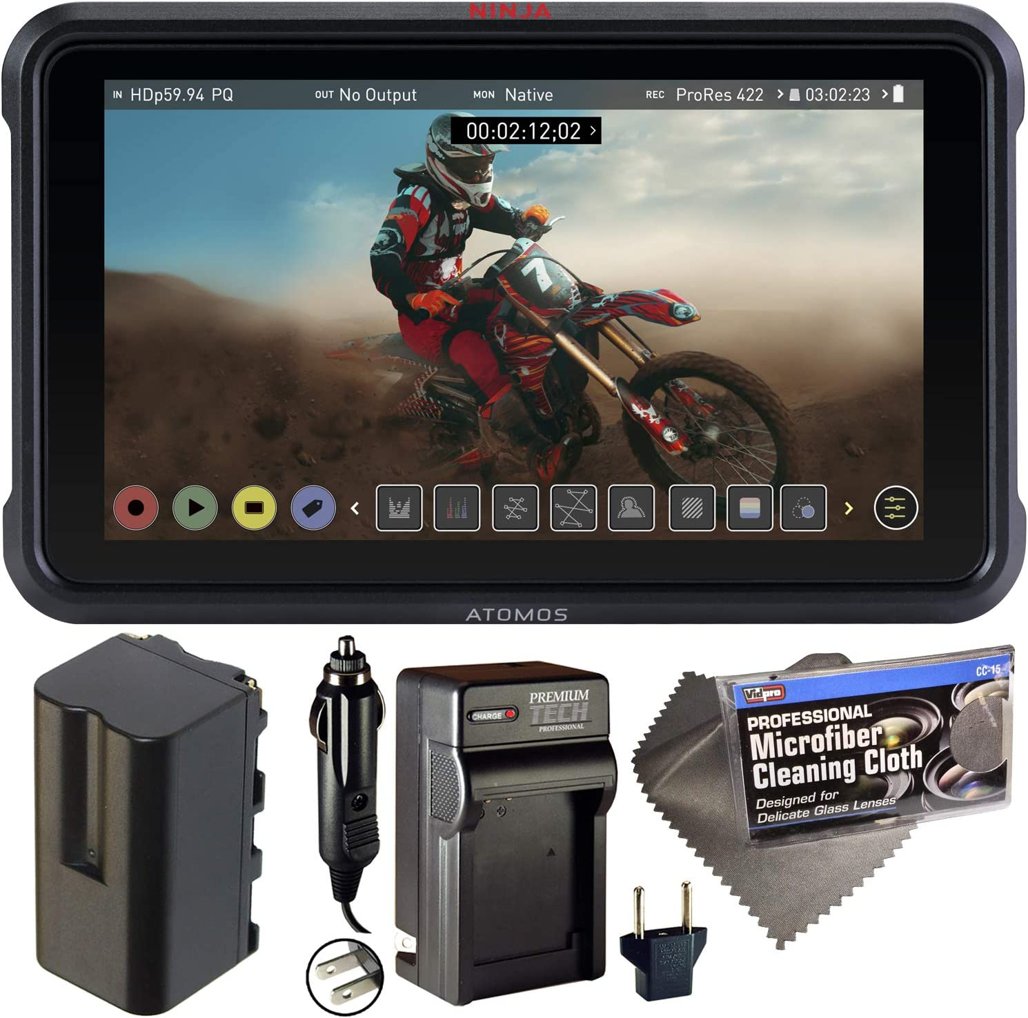 """Atomos Ninja V 5"""" Touchscreen Recording Monitor 10bit HDR with NP-F750 Battery, AC/DC Charger, and Cleaning Cloth - Bundle"""