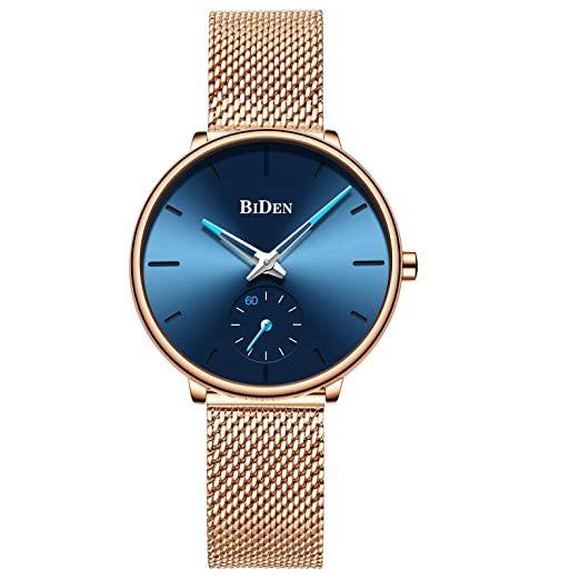5834261168 Women's Rose Gold Watch Analog Quartz Stainless Steel Mesh Band Casual  Fashion Ladies Wrist Watches Wrist