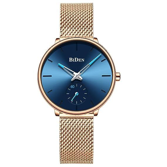 Reloj analógico de Cuarzo para Mujer, Correa de Malla de Acero Inoxidable, Reloj de Pulsera Informal para Mujer, Esfera Azul: Amazon.es: Relojes