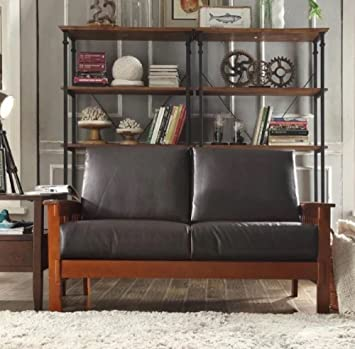 TRIBECCA HOME Hills Collection Bi Cast Leather And Brown Oak Wood Loveseat  Mission Style Sofa