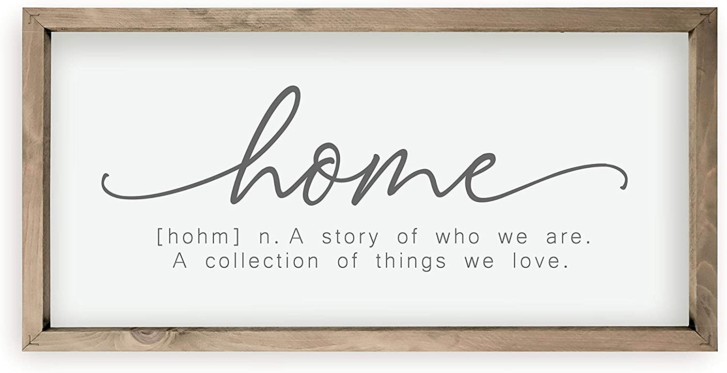 Home A Story Of Who We Are Framed Wood Farmhouse Wall Sign 10x19
