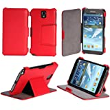 Etui Samsung Galaxy Note 3 N9000 N9002 N9005 (Wifi / LTE / 4G) rouge 32/64 GB Ultra Slim Cuir Style avec stand - Housse flip cover coque de protection smartphone Galaxy Note 3 GT-N9000/N9002/N9005 rouge - Prix découverte accessoires pochette XEPTIO : Exceptional case !