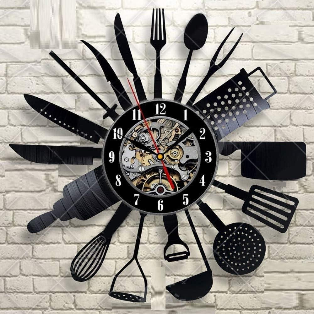 Cubiertos Reloj de Pared Diseño Moderno Cuchara Tenedor Reloj Reloj de Cocina Retro de Estilo Vintage Registros de Vinilo Relojes de Pared Decoración para El Hogar Silencioso: Amazon.es: Hogar