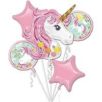 5 in 1 Partigos Unicorn Theme balloons 18 inch star Round Balloon Birthday Party Decor Kids Rainbow Balloons Unicorn…