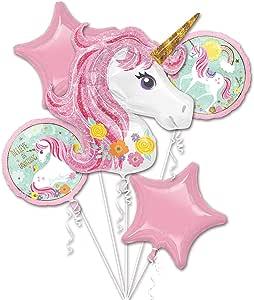 5 in 1 Partigos Unicorn Theme balloons 18 inch star Round Balloon Birthday Party Decor Kids Rainbow Balloons Unicorn Party Supplies