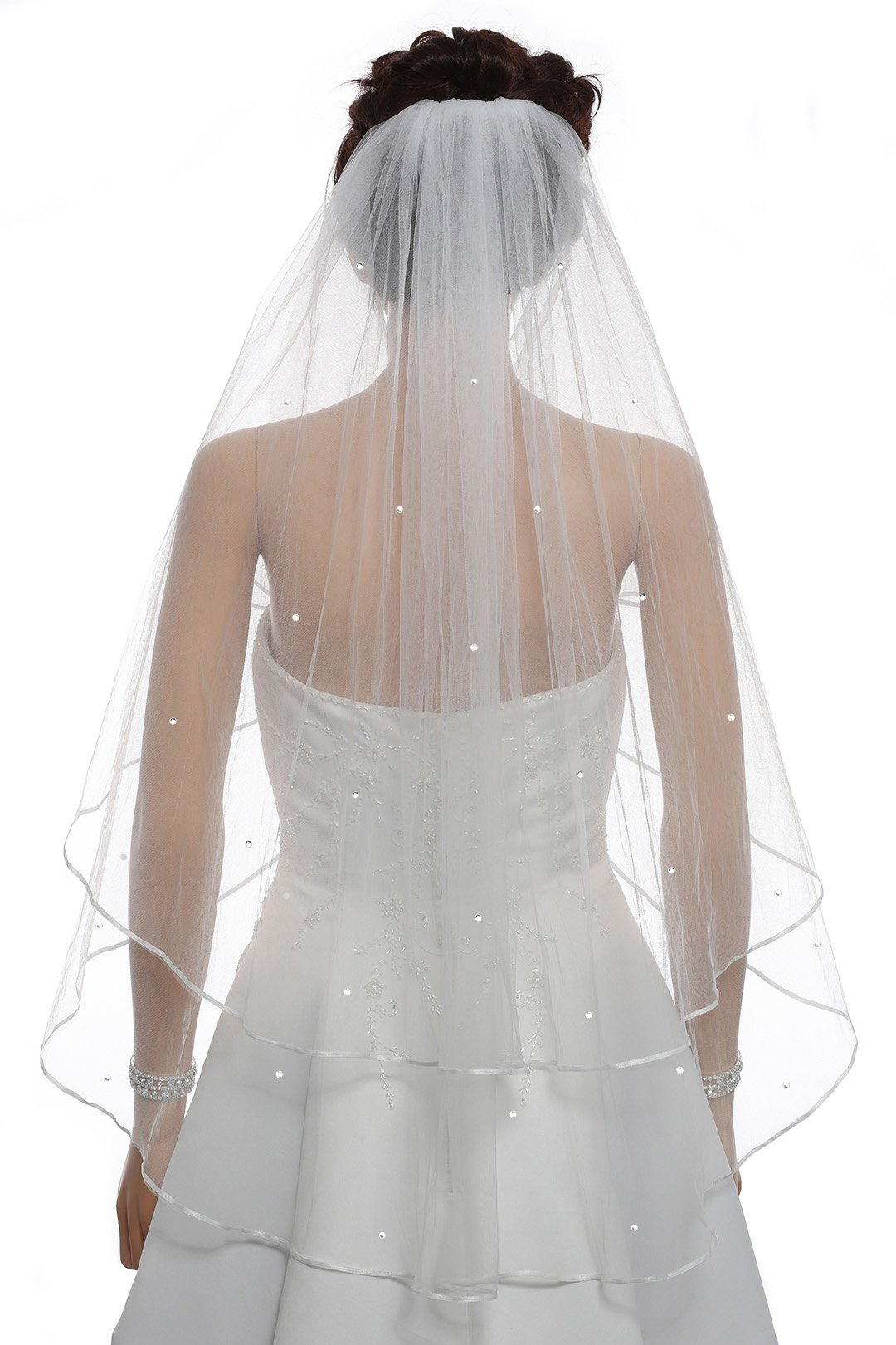 2T 2 Tier 1/8'' Ribbon Crystal Circular Veil - Ivory Fingertip Length 36'' V511