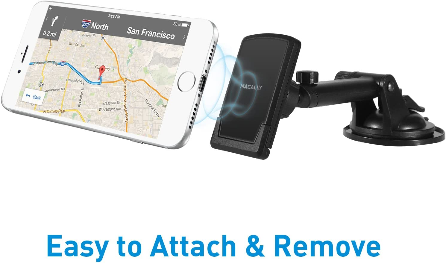 6s Plus 6 Samsung Galaxy S9 S9 S8 S7 Edge Note 5 7 7 TELEMAG Macally Magnetic Dashboard//Windshield Suction Cup Car Phone Mount Holder with Extendable Telescopic Arm for iPhone Xs XS Max XR X 8 8