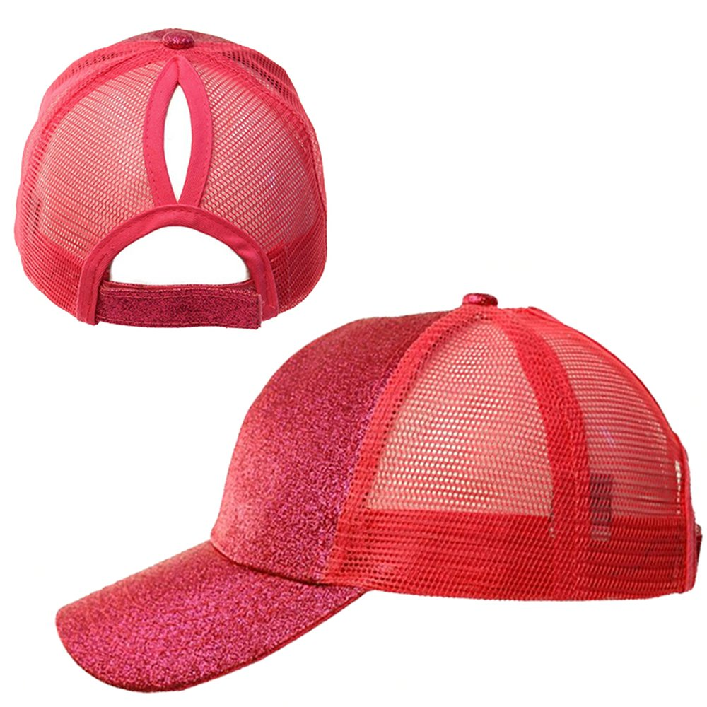 Leegoal Ponytail Baseball Cap, High Bun Ponytail Mesh Trucker Baseball Hat for Women