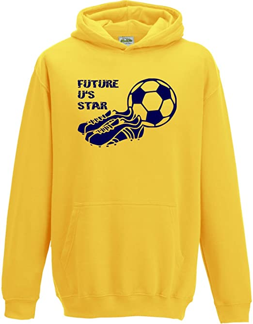 Hat-Trick Designs Oxford United Football Baby//Kids//Childrens Hoodie Sweatshirt-Yellow-Future Star-Unisex Gift