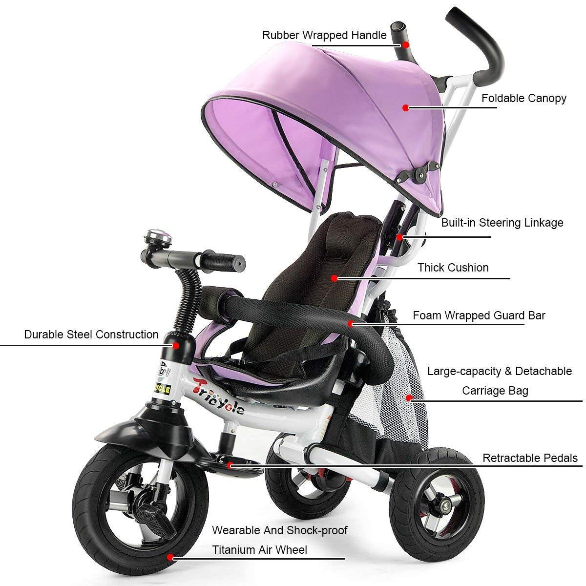 Pink Detachable Learning Bike w//Canopy Bag Steer Stroller HONEY JOY 6-in-1 Baby Tricycle