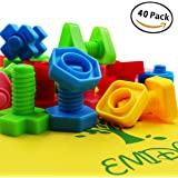 EMIDO 40 Pieces Jumbo Nuts Bolts Toy, Building Blocks Sets, Kids Educational Enlightenment Toys,STEM Toys, Montessori Materials Fine Motor Toy, Occupational Therapy Autism,Safe Material for Kids