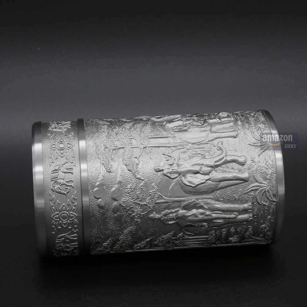 Oriental Pewter - Pewter Tea Storage, Caddy -TPCM4- Hand Carved Beautiful Embossed Pure Tin 97% Lead-Free Pewter Handmade in Thailand by Oriental Pewter (Image #7)