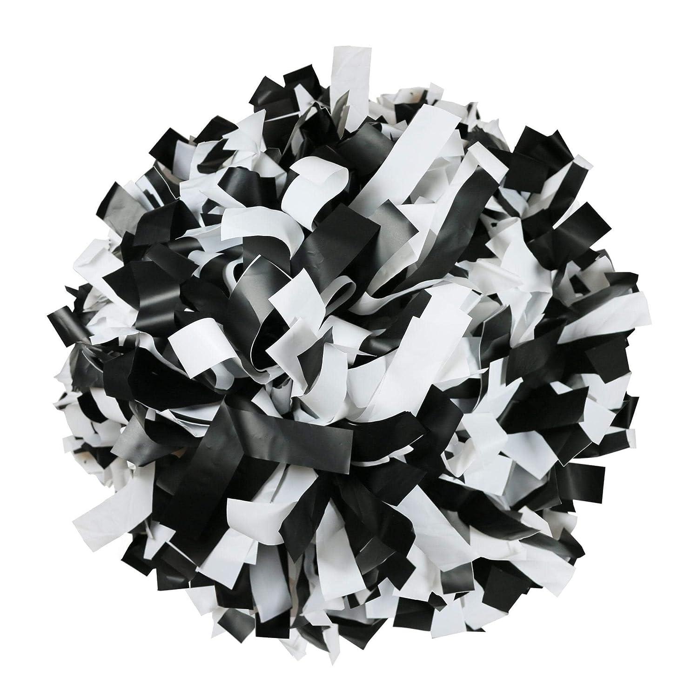Danzcue 1 paio di pon-pon di cheerleading sportivi in plastica con manico in canna Nero bianco